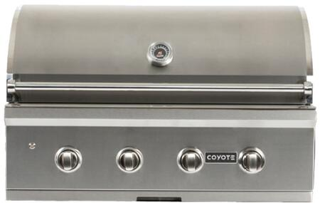"Coyote CCX4 36"" C-Series Built-In Grill with 4 I-Burners, Warming Rack, 875 sq. in. Cooking Surface, and Interior Lights, in Stainless Steel"
