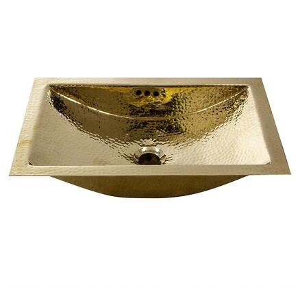 "Nantucket TR Brightwork Home Collection 19"" Hand Hammered Brass Rectangular Trough Bathroom Sink with Overflow Finished in:"