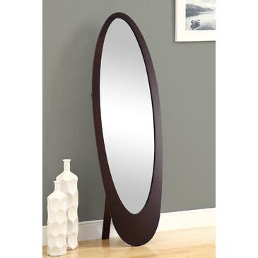 Monarch I 336 Cheval Mirror, with Wood Construction, Oval Shape, and Contemporary Design