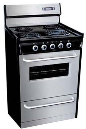 "Summit TEM230BKWY 30"" Professional Series Stainless Steel Electric Freestanding Range with Coil Element Cooktop, 3.69 cu. ft. Primary Oven Capacity, Storage"