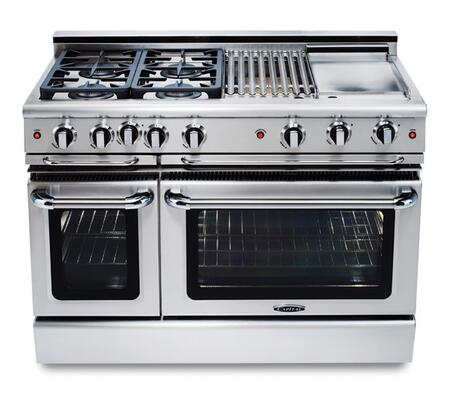 "Capital GCR484BGN 48"" Precision Series Natural Gas Freestanding Range with Sealed Burner Cooktop, 4.6 cu. ft. Primary Oven Capacity, in Stainless Steel"