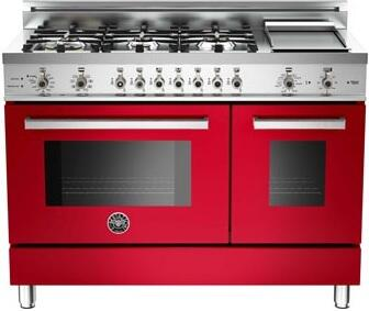 "Bertazzoni PRO486GDFSROLP 48"" Professional Series Dual Fuel Freestanding Range with Sealed Burner Cooktop, 3.4 cu. ft. Primary Oven Capacity, in Red"