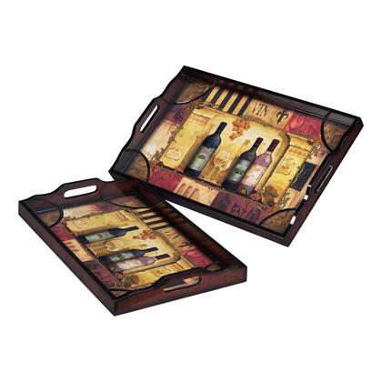 Sterling Set of 2 Trays with 2 Different Sizes, Print, Rectangular Shape and Medium-Density Fiberboard (MDF) in Dark Gloss Wood Tone Finish