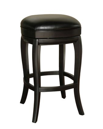 American Heritage 903BLKL50 Transitional Stool with Full Bearing Swivel and Adjustable Leg Levelers Finished in Black with Toast Leather Seat