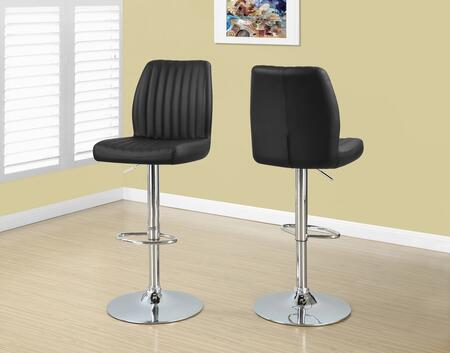 "Monarch I 237X 44"" 2 PCS Barstool with Hydraulic Lift, Faux Leather and 360 Swivel Seat"