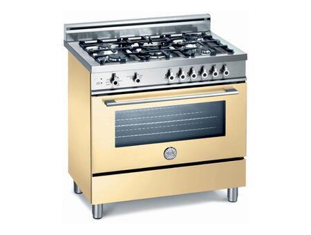 Bertazzoni X365GGVCR Professional Series Dual Fuel Freestanding Range with Sealed Burner Cooktop, 3.6 cu. ft. Primary Oven Capacity, Storage in Cream