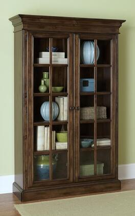 Hillsdale Furniture 896899 Pine Island Library Cabinet with 5 Wooden Shelves, 2 Glass-Fronted French Doors, Pine Solids and Lumber Sides Construction in