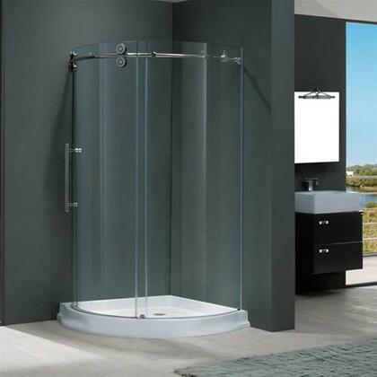 "Vigo VG6031XXCL36WL 36"" x 36"" Frameless Round 5/16"" Shower Enclosure Left Sided Door with White Base:"