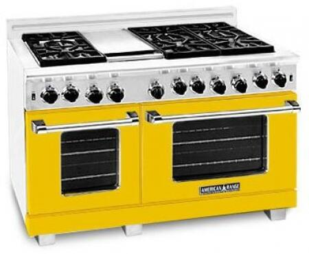 American Range ARR486GDLYW Heritage Classic Series Dual Fuel Freestanding Range with Sealed Burner Cooktop, 4.8 cu. ft. Primary Oven Capacity, in Yellow
