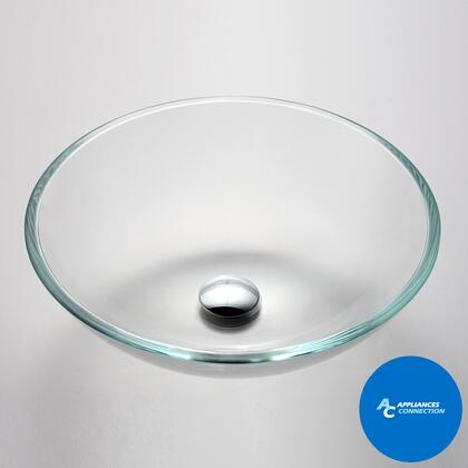 "Kraus GV100X Singletone Series 17"" Round Vessel Sink with 12-mm Tempered Crystal Clear Glass Construction, Easy-to-Clean Polished Surface, and Included Pop-Up Drain with Mounting Ring"