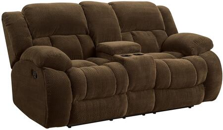 """Coaster Weissman 60192 87"""" Motion Loveseat with Plush Scoop Seating, Kiln Dried Hardwood Frame, Sinuous Spring Base, Cushioned Headrest and Fabric Upholstery in"""