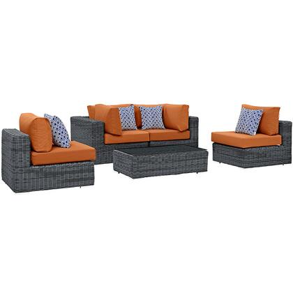 Modway Summon Collection 5 PC Outdoor Patio Sectional Set with Sunbrella  Fabric, Powder Coated Aluminum Frame, Water Resistant and Synthetic Rattan Weave Material in