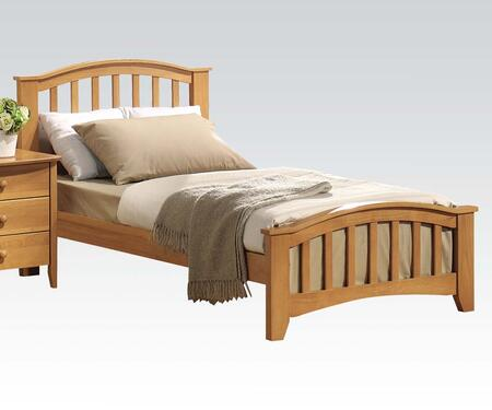 Acme Furniture San Marino Panel Bed with Gentle Curve, Slightly Tapered Legs, Round Top Edge and Rubberwood Construction in Maple Finish