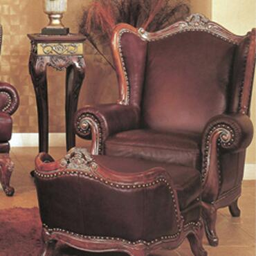 Yuan Tai SL1092A Solomon Series Leather Chair with Wood Frame