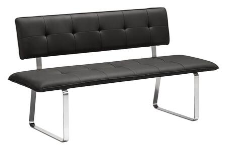 "Zuo 50017X Nouveau 61"" Bench with Tufted Detailing, and Chrome Legs"