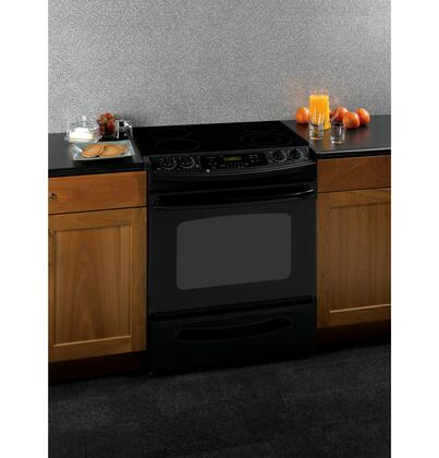 GE JSP42DNBB CleanDesign Series Slide-in Electric Range with Smoothtop Cooktop Storage 4.4 cu. ft. Primary Oven Capacity