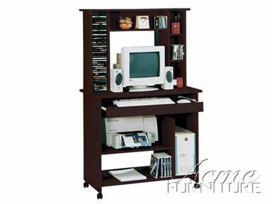 "Acme Furniture Aspen Fall 35"" Computer Desk with Casters, Keyboard Tray, CPU Storage Shelf, Solid Wood and Veneer Materials in"