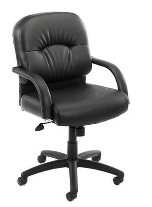 "Boss B74X 38"" Mid-Back Executive Chair with  Padded Armrests,  27"" Nylon Base, Upright Locking Position, and Adjustable Tilt Tension Control in Black CaressoftPlus Upholstery"