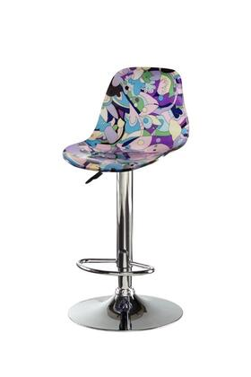 """Powell 14B201X 33"""" - 42"""" Bar Stool with Curved Acrylic Seat, Adjustable Height and Chrome Pedestal Base in"""