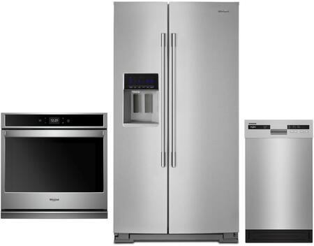 Whirlpool 1101729 3 Piece Fingerprint Resistant Stainless Steel Kitchen Appliances Package