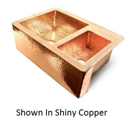 D'Vontz KS103622 60/40 Double Bowl Copper Farmhouse Kitchen Sink With 77% Recycled Copper, 99% Pure Copper & In