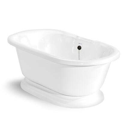 American Bath Factory T100A- Nobb Hill Round Pedestal Bathtub, 60-inch Double Ended, No Faucet Drillings with Waste & Overflow: