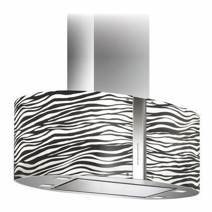 Futuro Futuro ISMURZEBRALED Murano Zebra Island Mount Chimney Style Range Hood with LED Lighting, 940 CFM Internal Blower, Dishwasher-safe Mesh Filter, and Delay Shut-Off Timer, in Stainless Steel