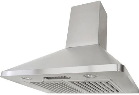 Kobe RAX94 Wall Mount Range Hood With 680 CFM Internal Blower, 3 Speeds, Mechanical Push Button Control, LED lights, Professional baffle filters and QuietMode: Fits Ceiling Height
