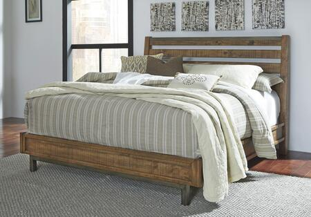 Signature Design by Ashley Dondie B663SLEIGH X Size Sleigh Bed with Varied Natural Distressing, Solid Wood Construction and Metal Legs in Warm Brown