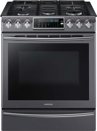 """Samsung NX58H9500 30"""" Gas Range with 5.8 Cu. Ft. Oven Capacity, 5 Burners, Endless Rail Grate, True Convection System, 18K Dual Power Burner, and Warming Drawer:"""