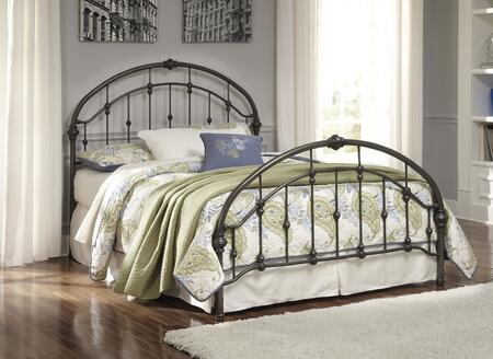 Signature Design by Ashley Nashburg B280-18 Metal Bed with Arched Headboard, Arched Footboard, Rails and Turned Accents in Bronze Finish