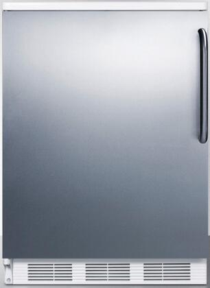 """Summit FF6-SSTBX 24"""" AccuCold Series Medical Freestanding Compact Refrigerator with 5.5 cu. ft. Capacity, Adjustable Shelves, Crisper, Door Storage and Interior Light: Stainless Steel with Left Hinge"""