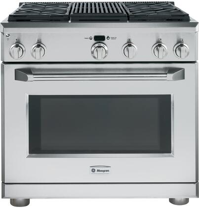 "GE Monogram ZDP364LRPSS 36"" Dual Fuel Freestanding Range with Sealed Burner Cooktop, 5.75 cu. ft. Primary Oven Capacity, in Stainless Steel"