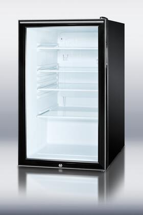 "Summit SCR500 20"" Compact All Refrigerator with 5.5 cu. ft. Capacity, Glass Door, Auto Defrost, Adjustable Glass Shelves, Alternate Handles and Factory Installed Lock in Black"