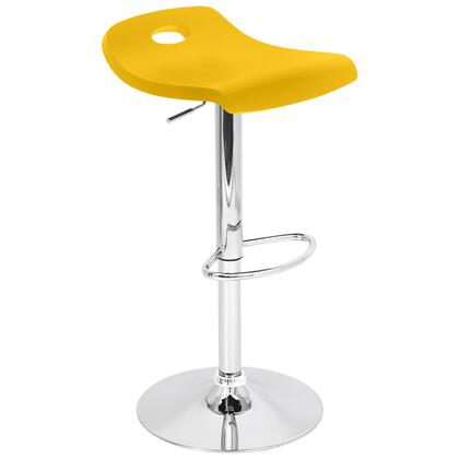 "LumiSource Surf BS-TW-SURF 27"" - 36"" Barstool with 360-Degree Swivel, Bent Wood Seat and Chrome Base in"