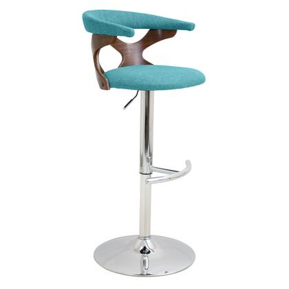 """LumiSource Gardenia BS-GARD WL 33"""" - 42"""" Bar Stool with Curved Open Backrest, 360 Degree Swivel and Adjustable Height in"""