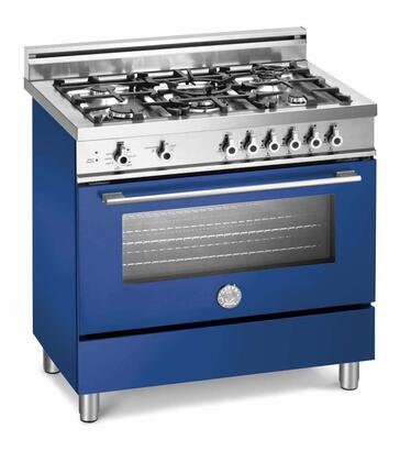 "Bertazzoni X365GGVBLLP 36"" Professional Series Liquid Propane Freestanding Range with Sealed Burner Cooktop, 3.6 cu. ft. Primary Oven Capacity, Storage in Blue"