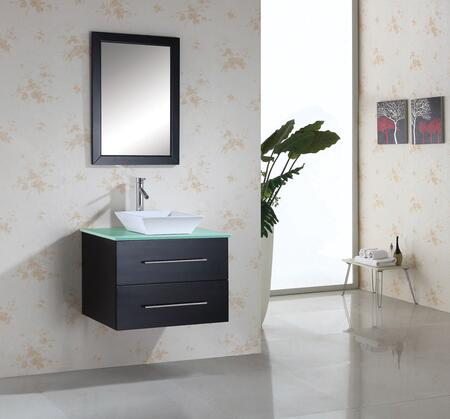 """Virtu USA Marsala MS-560-x-ES 30"""" Single Sink Bathroom Vanity with Tempered Glass or Artificial White Stone Countertop, Framed Mirror, White Ceramic Basin and PS-104 Faucet, in Espresso"""