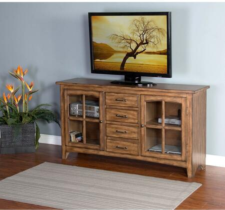 "Sunny Designs 3562XX-64 64"" TV Console with 4 Drawers, 2 Arched Window Framed Glass Doors and Tapered Legs in"