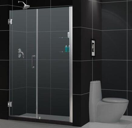 DreamLine SHDR-20547210 Unidoor Frameless Hinged Shower Door With Reversible For Right Or Left Door Opening, Self-Closing Solid Brass Wall Mounted Hinges (5 Degree Offset) & In