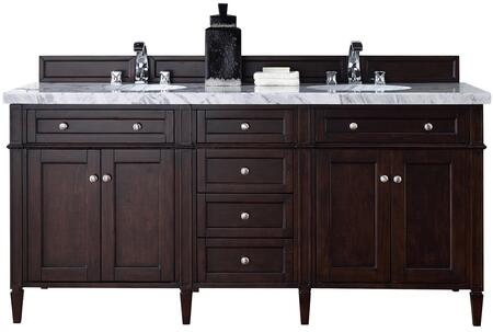 "James Martin Brittany Collection 650-V72-BNM- 72"" Burnished Mahogany Double Vanity with Six Drawers, Four Doors, Tapered Legs, Satin Nickel Hardware and"