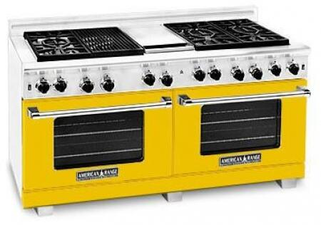 American Range ARR606GDGRLYW Heritage Classic Series Liquid Propane Freestanding Range with Sealed Burner Cooktop, 4.8 cu. ft. Primary Oven Capacity, in Yellow