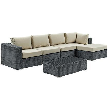 Modway Summon Collection EEI-1900- 5-Piece Outdoor Patio Sunbrella Sectional Set with Coffee Table, Corner Section, Right Arm Chaise and 2 Armless Chairs in