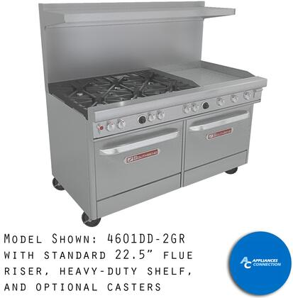 """Southbend 4361D2T Ultimate Range Series 36"""" Gas Range with Two Standard Non-Clog Burners, One 24"""" Thermostatic Griddle, and Standard Cast Iron Grates, Up to 114000 BTUs (NG)/96000 BTUs (LP), Standard Oven Base"""