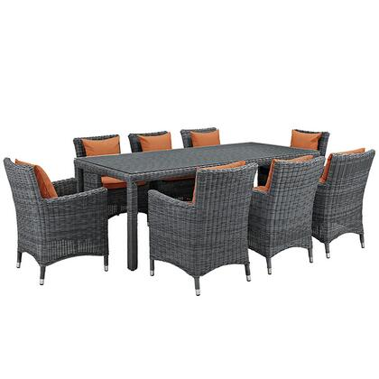 Modway Summon Collection EEI-2331-GRY- 9-Piece Outdoor Patio Sunbrella Dining Set with Dining Table and 8 Armchairs in