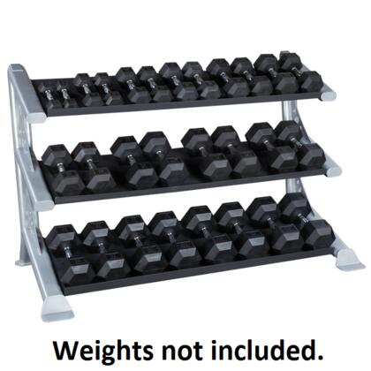 Body Solid SDKR1000 ProClub 3-Tiered Dumbbell, Kettlebell, and Medicine Ball Rack