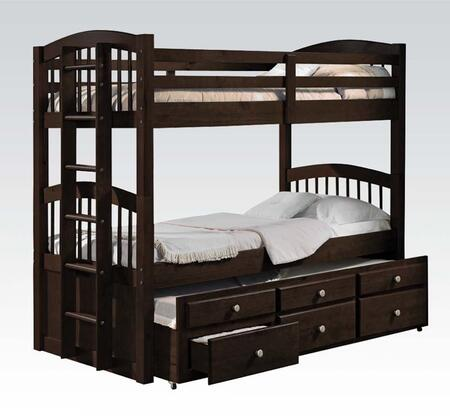 Acme Furniture 40005 Micah Twin/Twin Bunk Bed with 3 Drawers, Trundle, Metal Hardware, Convertible, Side Ladder and Made in Brazil in