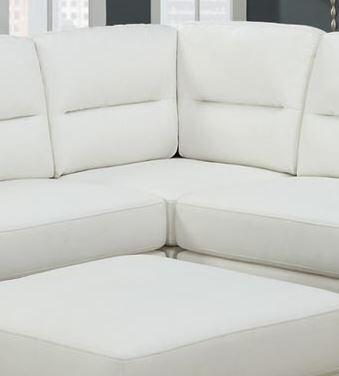 Monarch I8302WH Bonded Leather Sectional with Wood Frame in White
