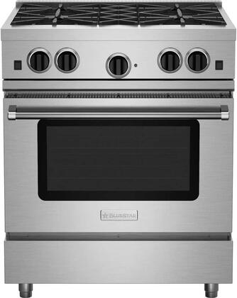"BlueStar RCS304BV 30"" Freestanding Range with 4 Open Burners, Electronic Ignition, Interior Oven Light, Infrared Broiler, Large Capacity Convection Oven and Simmer Burner, in Stainless Steel"