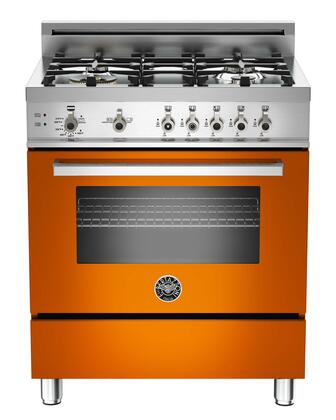 "Bertazzoni PRO304GASARLP 30"" Professional Series Gas Freestanding Range with Sealed Burner Cooktop, 3.6 cu. ft. Primary Oven Capacity, Storage in Orange"